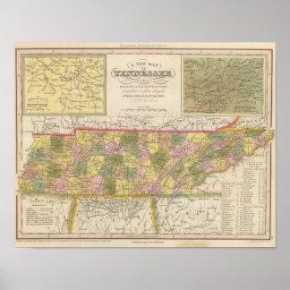 Nuevo mapa de Tennessee Impresiones