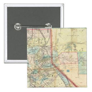 Nuevo mapa del estado de California Pin Cuadrada 5 Cm
