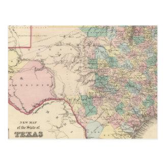 Nuevo mapa del estado de Tejas Postal