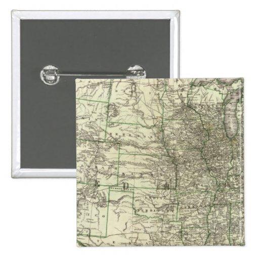 Nuevo mapa del ferrocarril de los Estados Unidos 2 Pin Cuadrada 5 Cm
