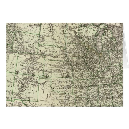 Nuevo mapa del ferrocarril de los Estados Unidos 2 Tarjetón