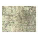 Nuevo mapa del ferrocarril de los Estados Unidos 2 Tarjetas Postales