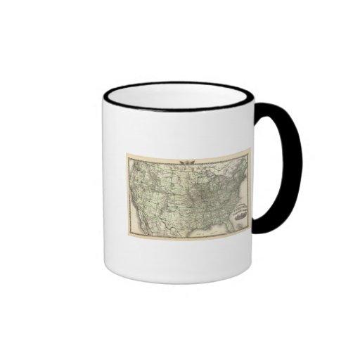Nuevo mapa del ferrocarril de los Estados Unidos 2 Taza De Café