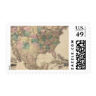 Nuevo mapa del ferrocarril de los Estados Unidos 3 Estampilla