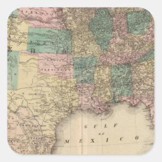 Nuevo mapa del ferrocarril de los Estados Unidos 3 Pegatina Cuadrada