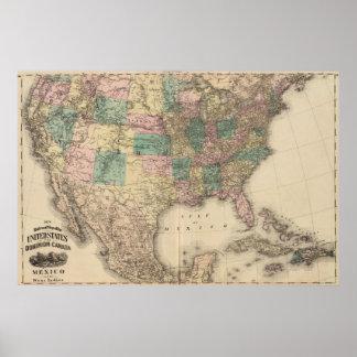 Nuevo mapa del ferrocarril de los Estados Unidos 3 Póster