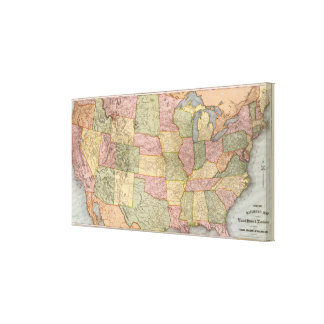 Nuevo mapa del ferrocarril de los Estados Unidos Lienzo Envuelto Para Galerias