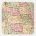 Nuevo mapa del ferrocarril de los Estados Unidos Pegatina Cuadrada