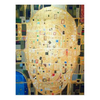 Nuevo mapa del mundo abstracto (mapa abstracto) postal