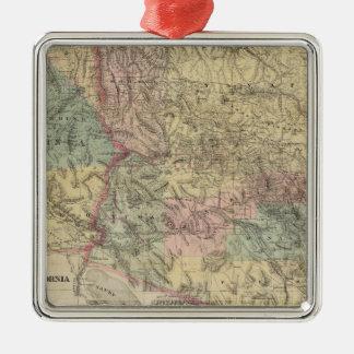 Nuevo mapa del territorio de Arizona Adorno Navideño Cuadrado De Metal