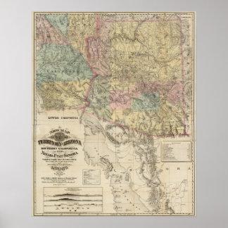 Nuevo mapa del territorio de Arizona Posters