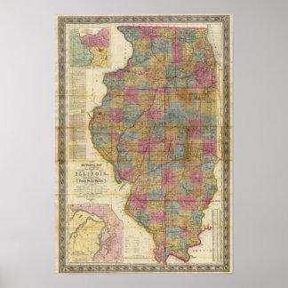 Nuevo mapa seccional del estado de Illinois 2 Impresiones