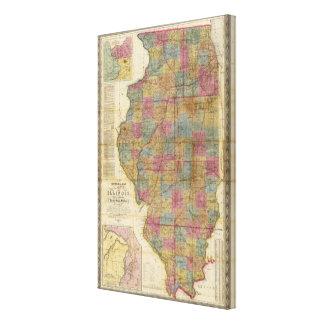 Nuevo mapa seccional del estado de Illinois Lona Envuelta Para Galerias