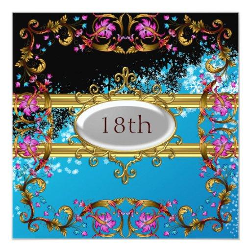 Nuevo marco azul negro de la flor de la fiesta de invitación 13,3 cm x 13,3cm