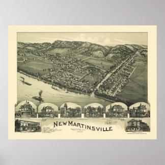 Nuevo Martinsville, mapa panorámico de WV - 1899 Póster