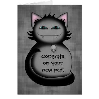 Nuevo mascota del gatito de los congrats sombríos tarjeta pequeña