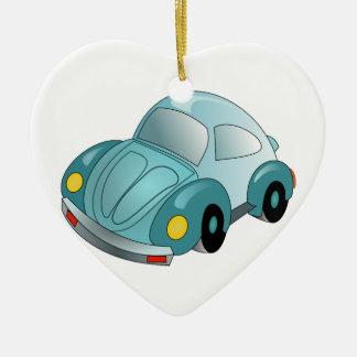 Nuevo mini coche adorno navideño de cerámica en forma de corazón