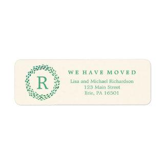 Nuevo monograma de la dirección y guirnalda verde etiqueta de remitente