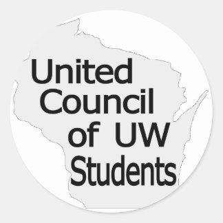 Nuevo negro unido del logotipo del consejo en gris pegatina redonda