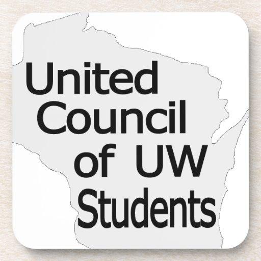 Nuevo negro unido del logotipo del consejo en gris posavasos