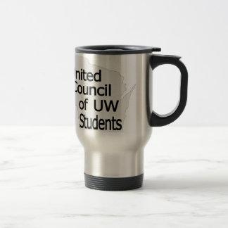 Nuevo negro unido del logotipo del consejo en gris taza de viaje de acero inoxidable