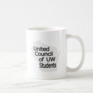 Nuevo negro unido del logotipo del consejo en gris taza básica blanca