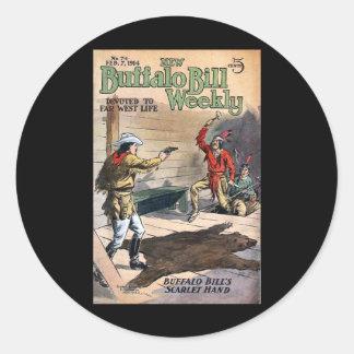 Nuevo no. semanal 74 1914 de Buffalo Bill Pegatina Redonda