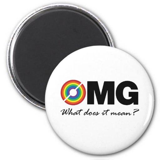 ¿nuevo omg doble de la camiseta del arco iris qué  imán redondo 5 cm