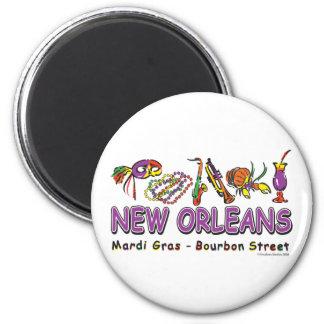 Nuevo-Orleans-Diversión Imán Redondo 5 Cm