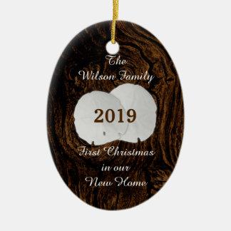 Nuevo ornamento casero del dólar de arena del adorno navideño ovalado de cerámica