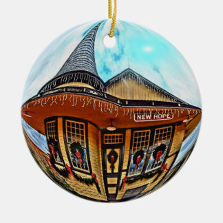Nuevo ornamento de la estación de la esperanza adorno navideño redondo de cerámica