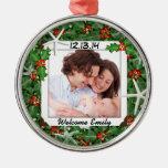 Nuevo ornamento de la foto del bebé del navidad adorno navideño redondo de metal