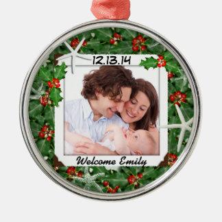 Nuevo ornamento de la foto del bebé del navidad tr ornamentos de navidad