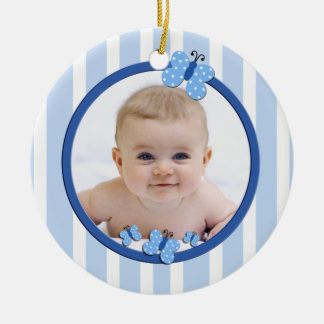 Nuevo ornamento del bebé de la mariposa azul adorno navideño redondo de cerámica