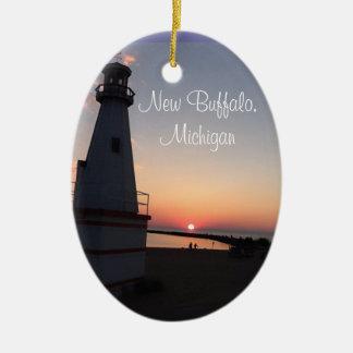 Nuevo ornamento del faro de la puesta del sol de adorno navideño ovalado de cerámica