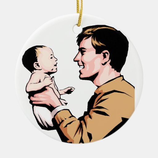 Nuevo ornamento del navidad del papá adorno redondo de cerámica