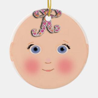 Nuevo ornamento del personalizable del bebé adorno navideño redondo de cerámica