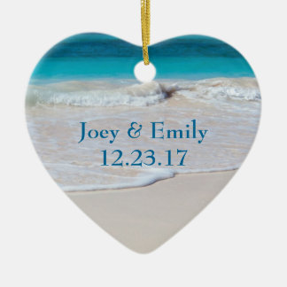 Nuevo ornamento del recién casado de la familia adorno navideño de cerámica en forma de corazón