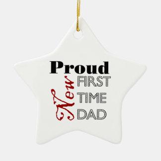 Nuevo ornamento orgulloso del papá de la primera adorno navideño de cerámica en forma de estrella