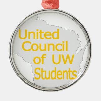 Nuevo oro unido del logotipo del consejo en gris adorno navideño redondo de metal