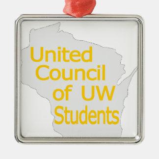 Nuevo oro unido del logotipo del consejo en gris ornamento para arbol de navidad
