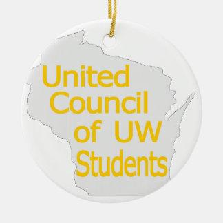Nuevo oro unido del logotipo del consejo en gris ornamento de navidad