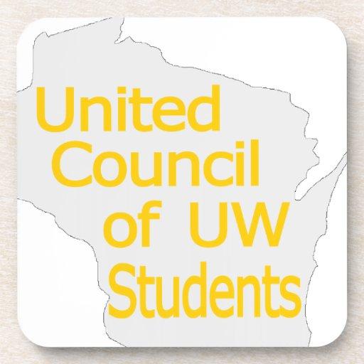 Nuevo oro unido del logotipo del consejo en gris posavaso