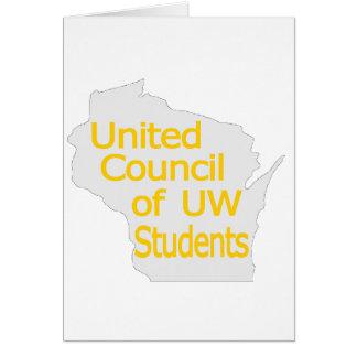Nuevo oro unido del logotipo del consejo en gris felicitación