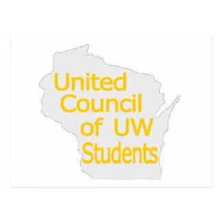 Nuevo oro unido del logotipo del consejo en gris tarjeta postal