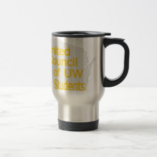Nuevo oro unido del logotipo del consejo en gris taza térmica