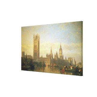 Nuevo palacio de Westminster del río Támesis Impresión En Lona Estirada