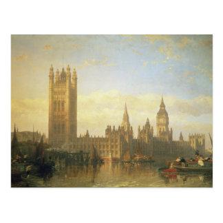 Nuevo palacio de Westminster del río Támesis Tarjeta Postal