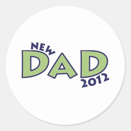 Nuevo papá 2012 pegatina redonda