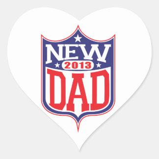 Nuevo papá 2013 pegatina en forma de corazón